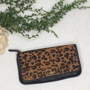 Fossil Calf Hair Leather Leopard Wallet